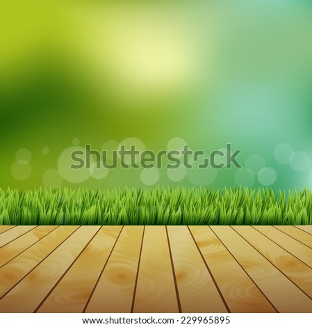 Fresh spring green grass with bokeh and sunlight and wooden floor - stock vector