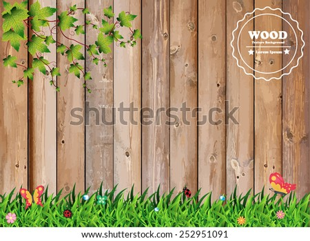 Fresh spring green grass with leaf plant over wood fence background, Vector illustration template design - stock vector