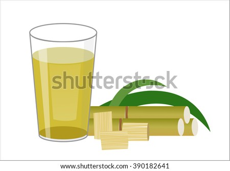 Fresh squeezed sugar cane juice in glass with cut pieces cane isolated on white background. vector illustration.