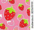 Fresh Strawberry Fruit pattern or background: pink & red. Vector - stock vector