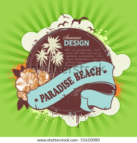 Fresh summer design. Background for your text. Grunge style with retro elements. Vector illustration. - stock vector