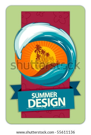 Fresh summer design. Background for your text. Retro style. Vector illustration. - stock vector