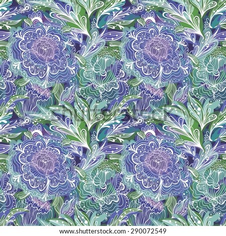 Fresh Summer Pattern | Vector seamless ornamental illustration with sketch flowers and leaves for wallpaper, fashion, textile design - stock vector