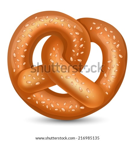 Fresh tasty Pretzel for Oktoberfest. Vector illustration. - stock vector