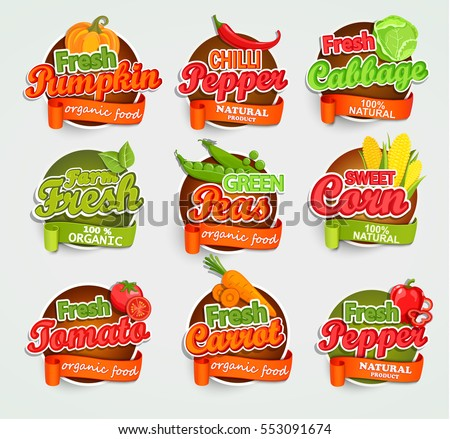 Fresh tomato pumpkin pepper peas cabbage stock vector 553091674 shutterstock