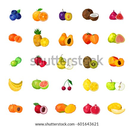 Fresh tropical fruits berries and coconut polygonal icons collection with blueberry figs kiwi mango isolated vector illustration