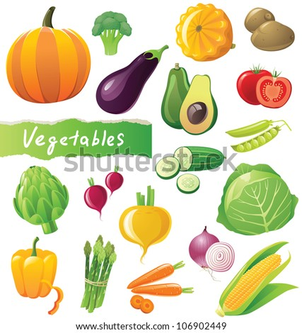 Fresh vegetables icons set - stock vector