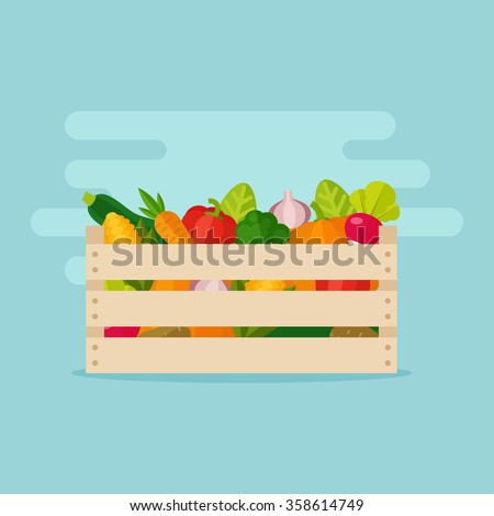 Fresh vegetables in a box. Wooden box with garden vegetables. Natural, healthy food concept. Organic vegetables collected in the crate. Vegetables from the farm. - stock vector