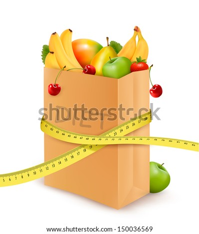 Fresh vegetables in a paper grocery bag with measuring tape. Concept of diet. Vector  - stock vector