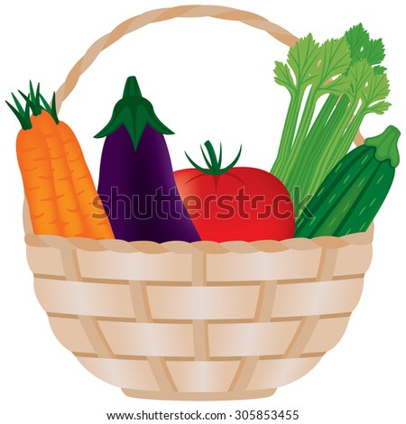 Fresh Vegetables in Basket Vector. Vegetables are whole and can be used outside of basket. Gradient mesh used.