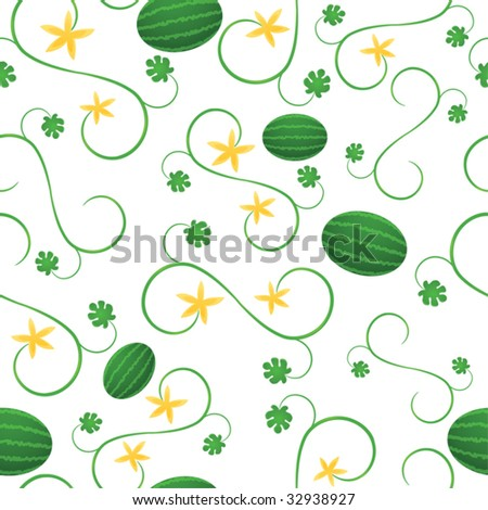 Fresh watermelons among swirling vines; file contains clipping masks.