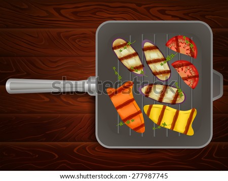 Freshly grilled vegetables with thyme on grilling pan placed on wooden table. Vector image can be used for restaurant and cafe menu design, food posters, print cards and other crafts.