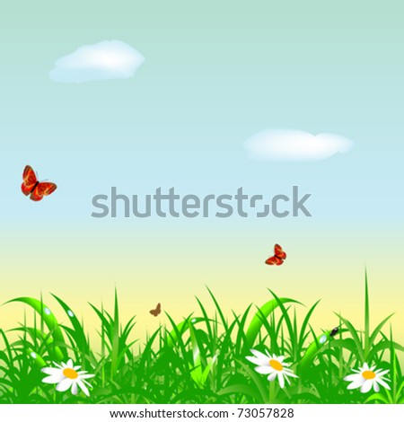 freshness morning summer meadow background - stock vector