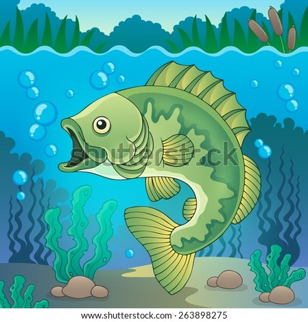 Freshwater fish topic image 1 - eps10 vector illustration. - stock vector