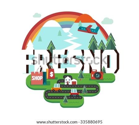 Fresno city logo in colorful vector - stock vector