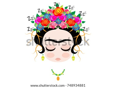 Frida Kahlo Cartoon Emoji Baby Frida Vector de stock748934881 ...