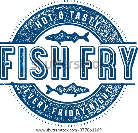 Friday Fish Fry Menu Stamp - stock vector