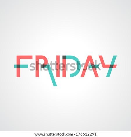 Friday text - stock vector