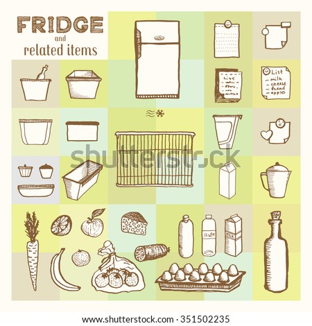 Fridge and related items. Vintage style, hand drawn pen and ink.  Vector clip art set for flyer, business card of electronics shop or refrigerator store. Retro design element - stock vector