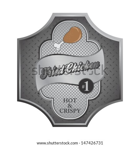fried chicken silver label - stock vector