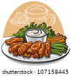 fried chicken wings - stock vector
