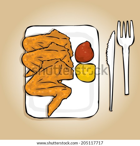 Fried chicken wings on a white paper plate with mustard and ketchup. Round bun and  sc 1 st  Shutterstock & Fried Chicken Wings On White Paper Stock Vector 205117717 - Shutterstock