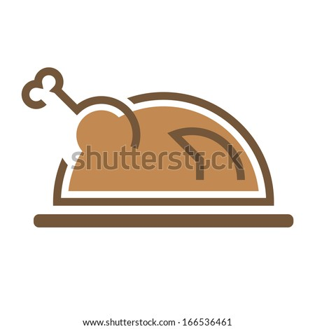 Fried delicious appetite hen Chicken sign symbol - stock vector