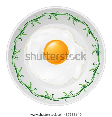 Fried egg on plate. Illustration on white background - stock vector