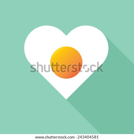 fried egg with heart shape flat icon with long shadow,eps10 - stock vector
