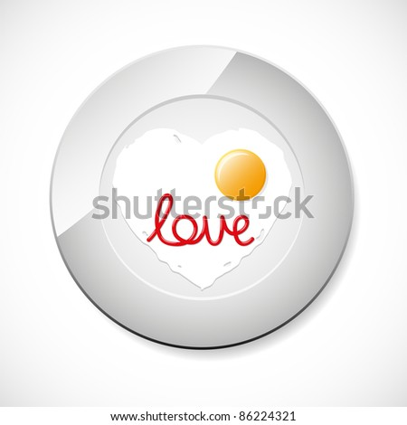 Fried egg with ketchup word Love. Vector illustration. - stock vector