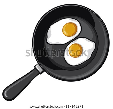 Fried eggs on frying pan (fried egg) - stock vector