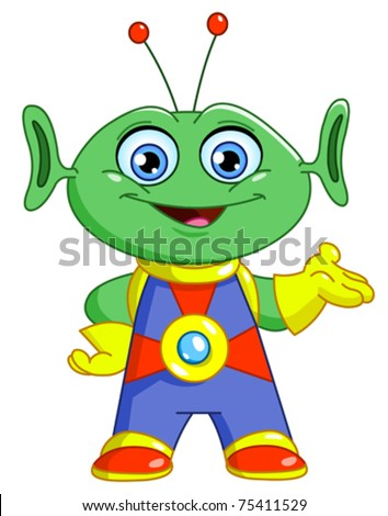 Friendly alien - stock vector
