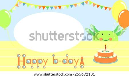 Friendly aliens birthday. invitation. - stock vector