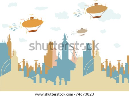 Friendly brightly colored future like city accented by three old fashion fantasy flying machines editable vector illustration - stock vector