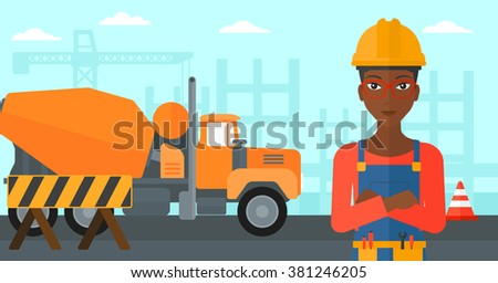 Friendly builder with arms crossed. - stock vector