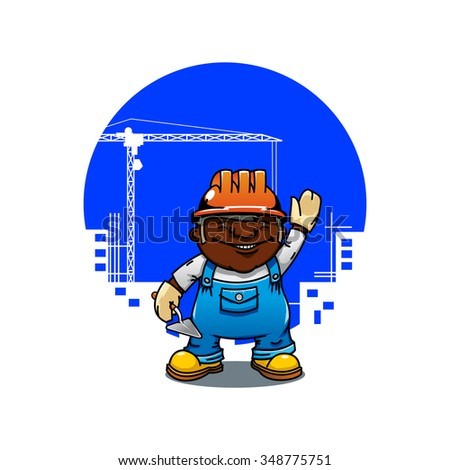 Friendly cartoon african american bricklayer or builder in orange hard hat standing with trowel. Construction industry  concept - stock vector