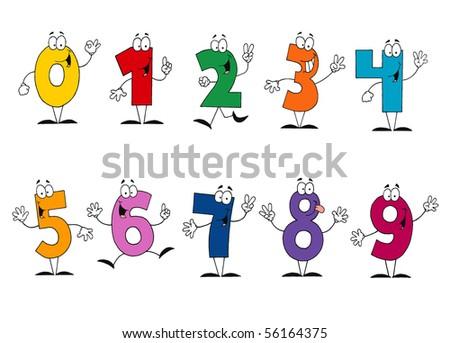 Friendly Cartoon Numbers Set - stock vector