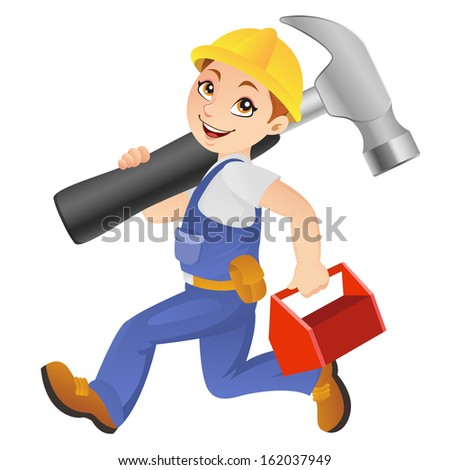 Friendly construction worker running with big hammer and toolbox - stock vector