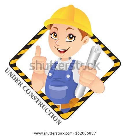 Friendly Construction Worker showing a Thumbs Up sign with Under Construction Sign - stock vector