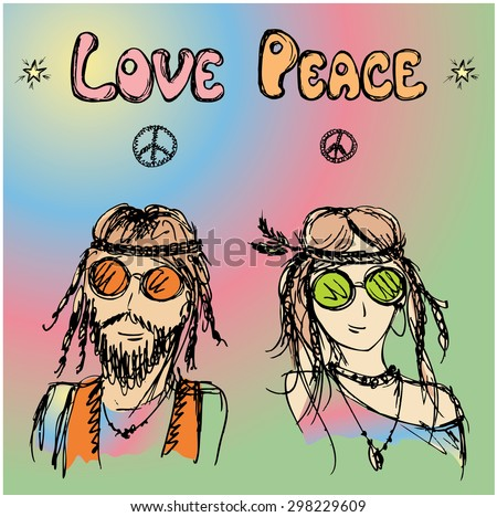 Friendly couple  hippie with long hair , vector illustration - stock vector