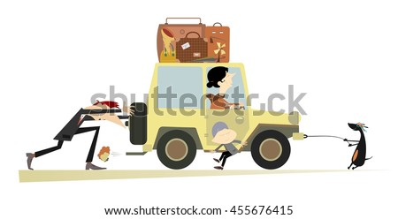 Friendly family and a broken car. Father, sun and dog push the broken car with mother in it   - stock vector