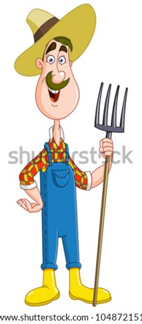 Friendly farmer with pitchfork - stock vector
