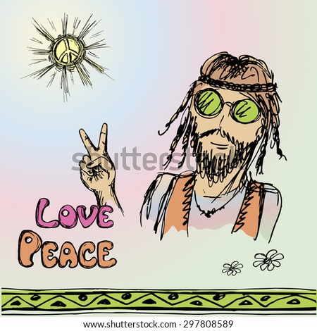 Friendly hippie with long hair making peace sign, vector illustration - stock vector