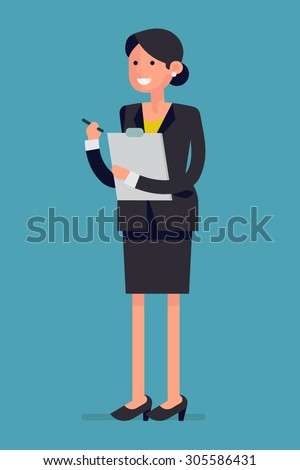 Friendly kind business woman standing full length holding pen and clipboard | Isolated female office worker flat design character in business suit smiling - stock vector
