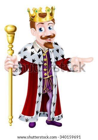 Friendly King cartoon character wearing a crown, holding a sceptre and giving a thumbs up - stock vector