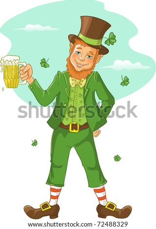 Friendly leprechaun with beer for St. Patrick's Day - stock vector