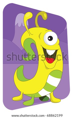 Friendly looking worm or snake alien monster from another planet, on a purple mountaintops background