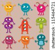 Friendly monsters vector set - stock photo