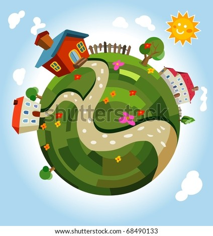Friendly small Planet. Vector Illustration - stock vector