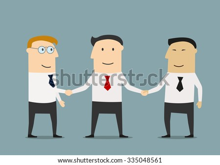 Friendly smiling businessman shakes hands two partners For business meeting concept design  - stock vector